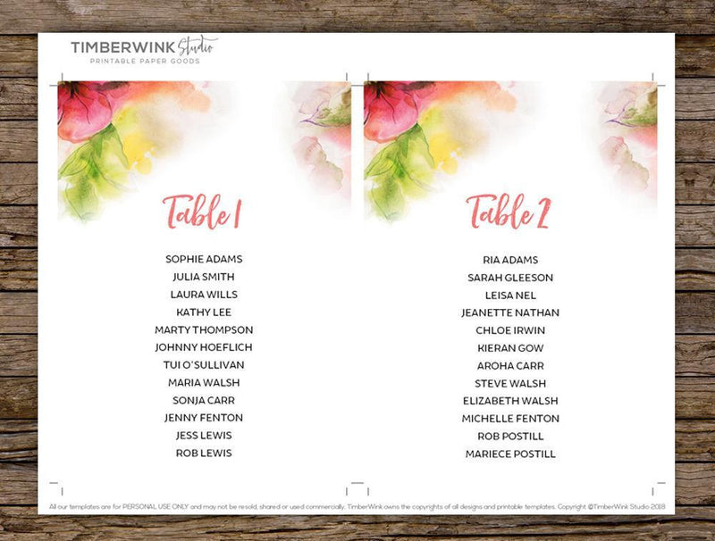 Watercolour Floral Wedding Seating Plan Printable Template