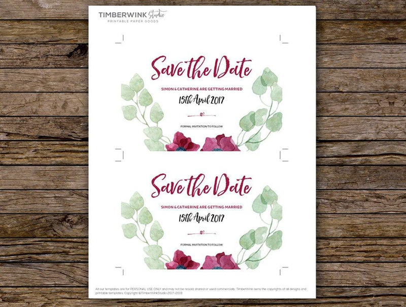 Purple Floral Wedding Save The Date Printable Template