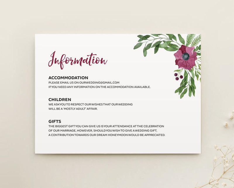 Purple Floral Wedding Details Card Printable Template