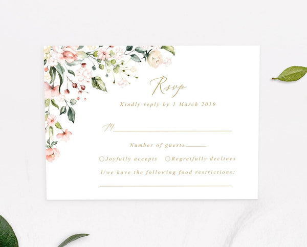 Blush Floral Wedding RSVP Card Printable Template