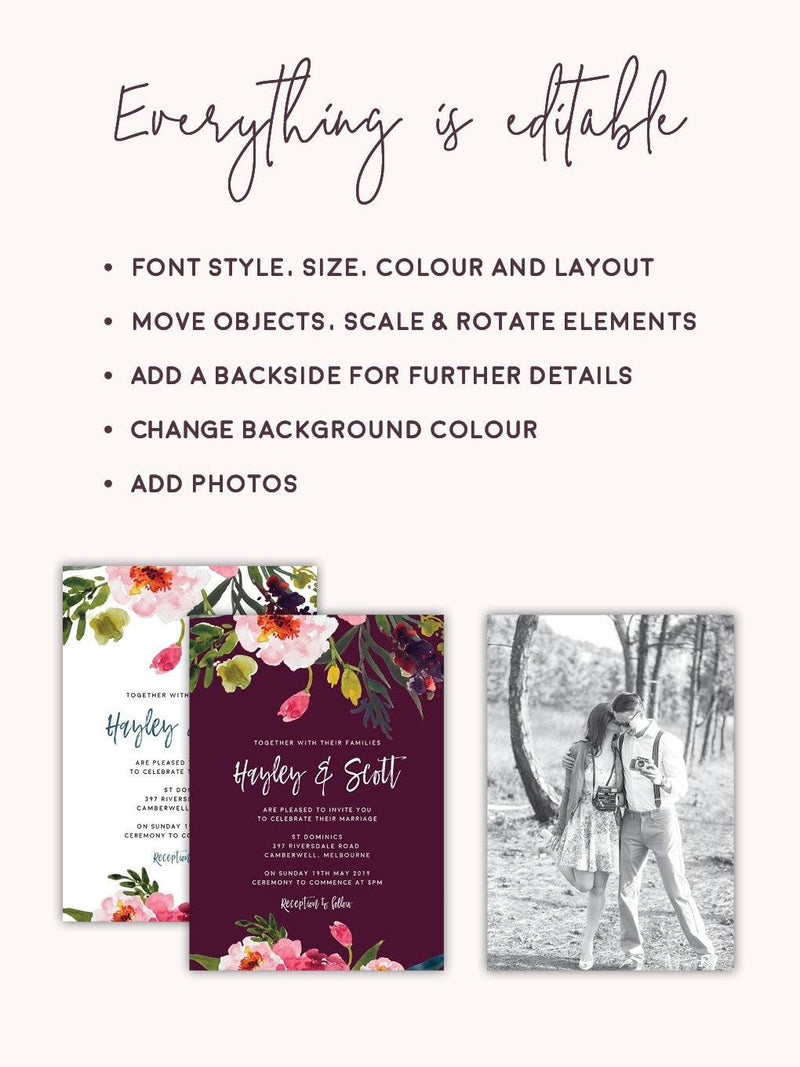 Watercolour Peony Wedding Details Card Printable Template