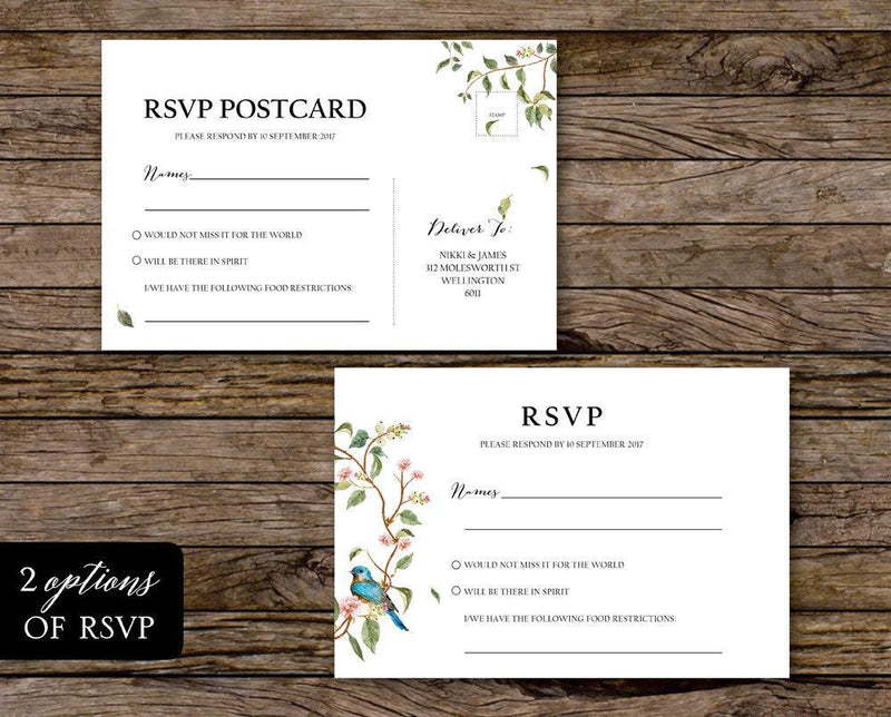 Floral Wedding RSVP Card Printable Template