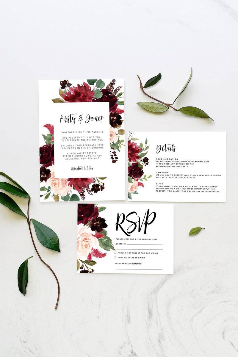 Burgundy Floral Wedding Details Card Printable Template