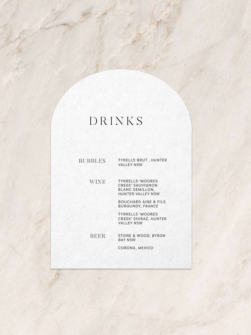 Milan Drink Menu - Arch