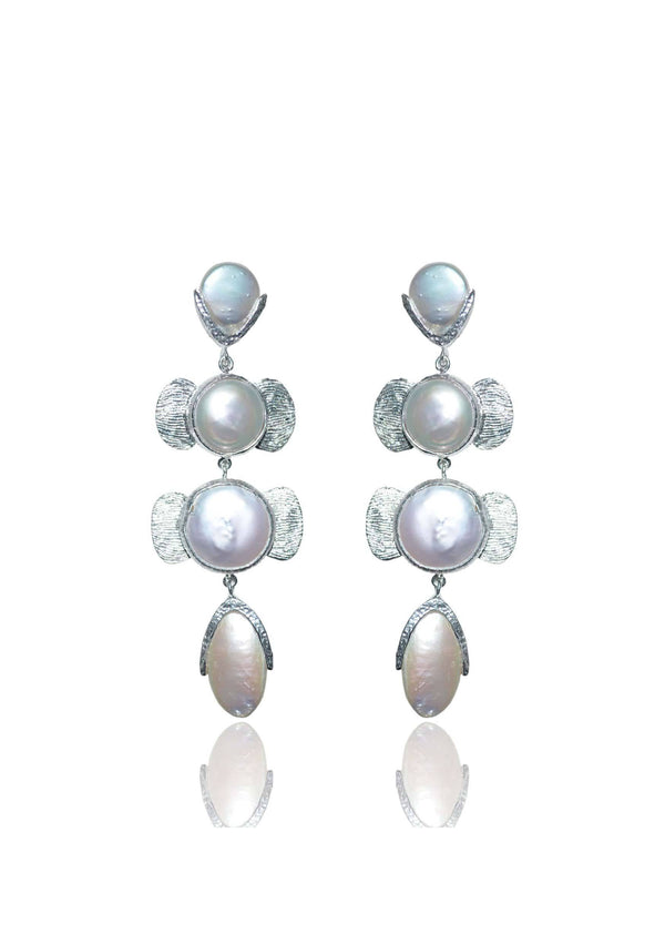 ROSE - STATEMENT PEARL DANGLE EARRINGS - SILVER