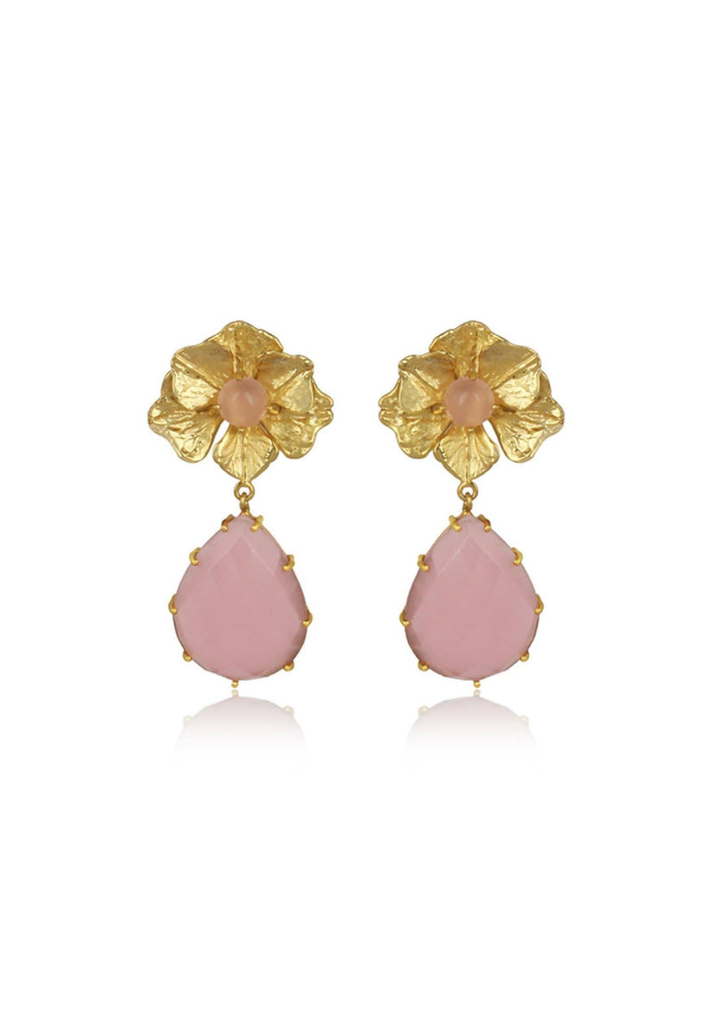 NOVA - FLOWER STATEMENT BRIDAL EARRINGS - PINK