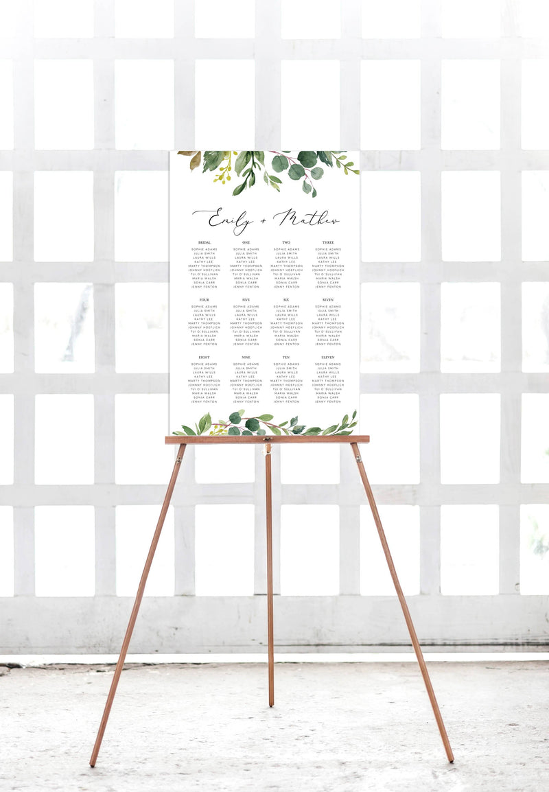 Eucalyptus Wedding Seating Plan Printable Template