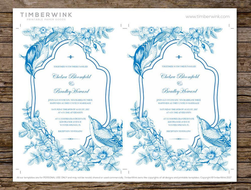 Vintage Wedding Invitation Printable Template