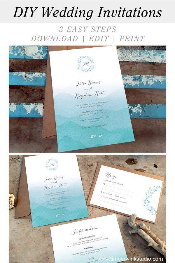 Beach Wedding Details Card Printable Template