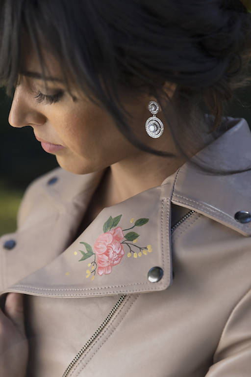"Custom Hand Painted ""Mrs"" Blush Pink Leather Jacket with Peonies."