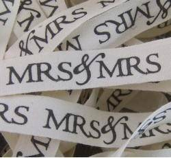 Mrs and Mrs Printed Cotton Ribbons