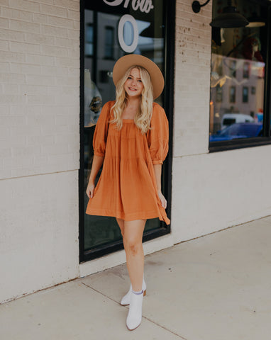 Orange Square Neck Dress