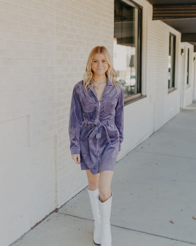 Corduroy Mini Dress in Lavendar