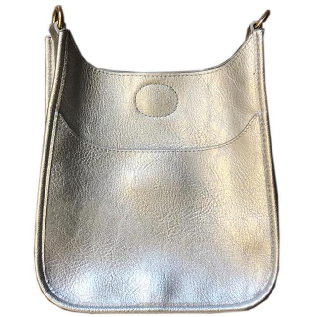 Mini Soft Vegan Leather Messenger Bag (strap NOT included) SILVER