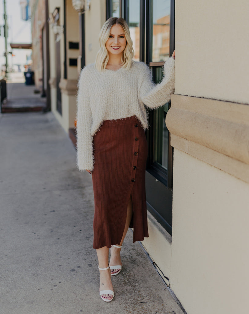 Button Up Sweater Skirt