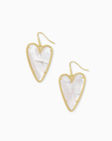 Kendra Scott: Ansley Heart Gold Drop Earrings In Ivory Mother-Of-Pearl