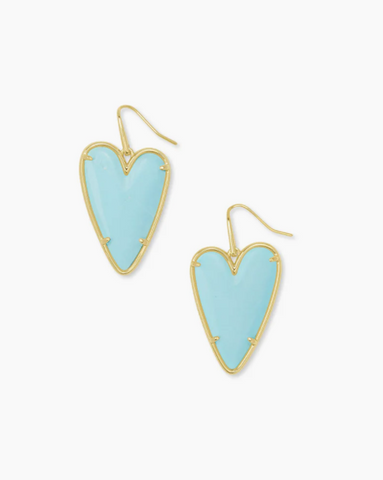 Kendra Scott: Ansley Heart Gold Drop Earrings In Light Blue Magnesite