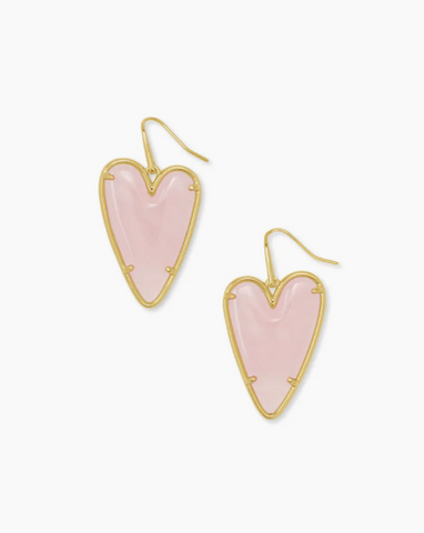 Kendra Scott: Ansley Heart Gold Drop Earrings In Rose Quartz