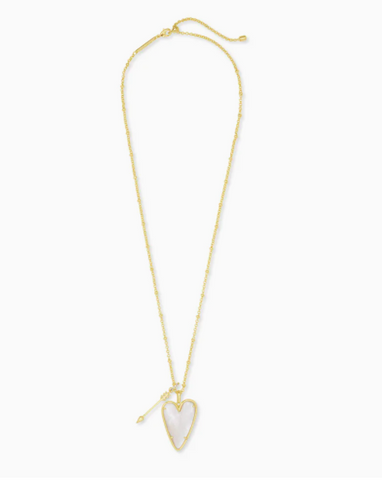 Kendra Scott: Ansley Heart Gold Long Pendant Necklace In Ivory Mother-Of-Pearl