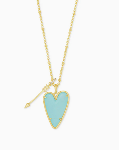 Kendra Scott: Ansley Heart Gold Long Pendant Necklace In Light Blue Magnesite