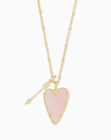 Kendra Scott: Ansley Heart Gold Long Pendant Necklace In Rose Quartz