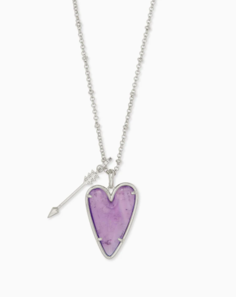 Kendra Scott: Ansley Heart Rhodium Long Pendant Necklace In Amethyst