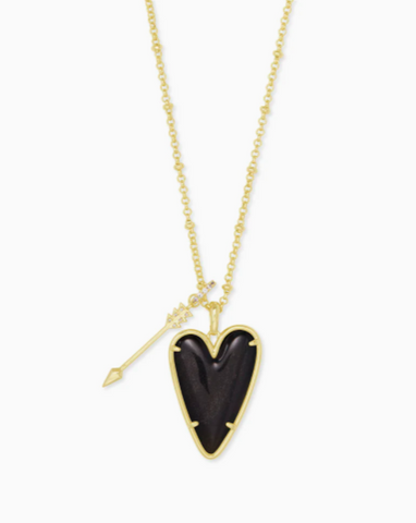 Kendra Scott: Ansley Heart Gold Long Pendant Necklace In Golden Obsidian