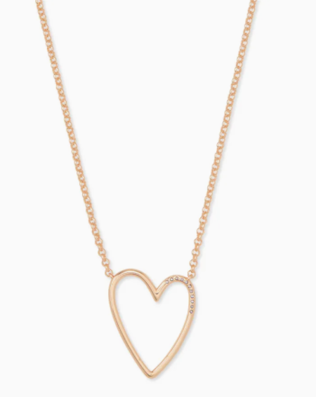 Kendra Scott: Ansley Heart Pendant Necklace In Rose Gold