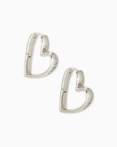 Kendra Scott: Ansley Heart Small Hoop Earrings In Silver