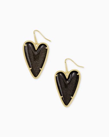 Kendra Scott: Ansley Heart Gold Drop Earrings In Golden Obsidian