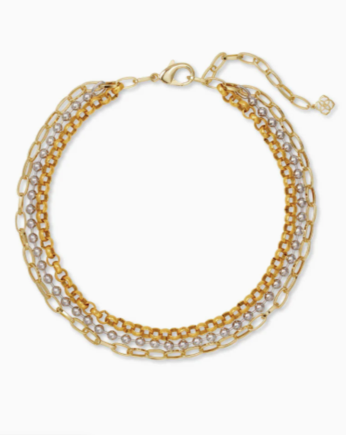 Kendra Scott: Brylee Multi Strand Necklace In Mixed Metal