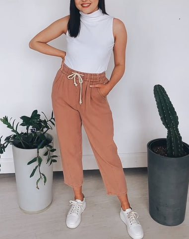Relaxed Denim Pant in Blush