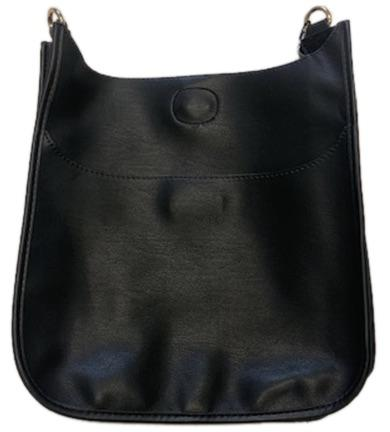 Soft Vegan Leather Messenger Bag (strap NOT included) BLACK