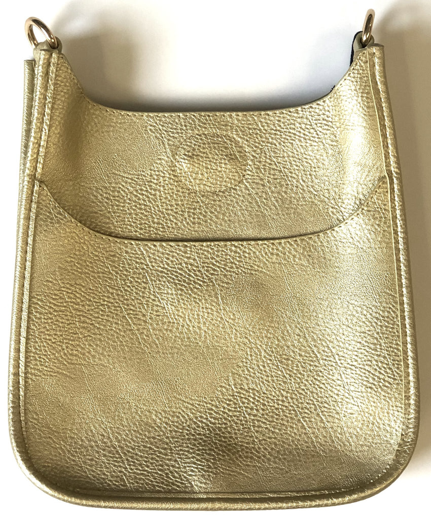 Mini Soft Vegan Leather Messenger Bag (strap NOT included) GOLD