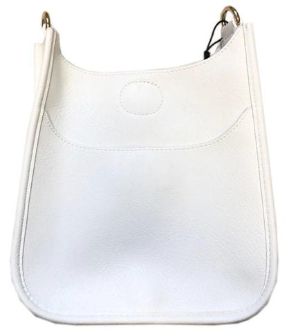 Mini Soft Vegan Leather Messenger Bag (strap NOT included) WHITE