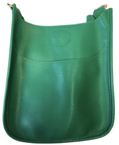Mini Soft Vegan Leather Messenger Bag (strap NOT included) GREEN
