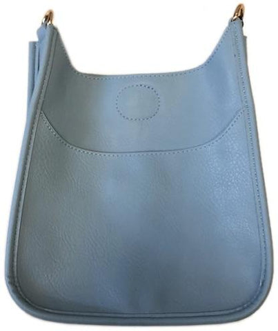 Mini Soft Vegan Leather Messenger Bag (strap NOT included) LIGHT BLUE