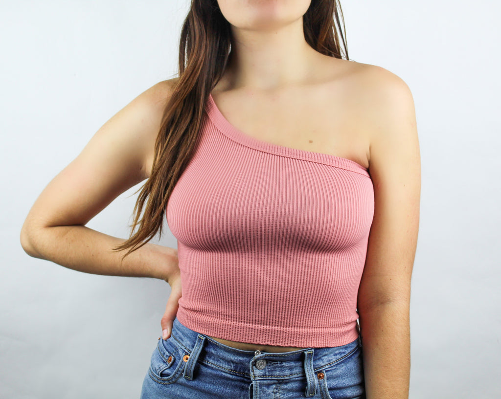 NikiBiki: One Shoulder Ribbed Tank in Ash Rose