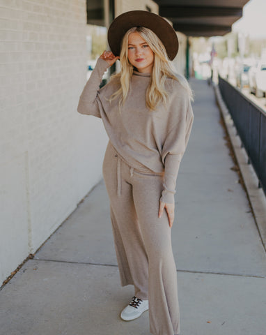 Ribbed Pant in Oatmeal