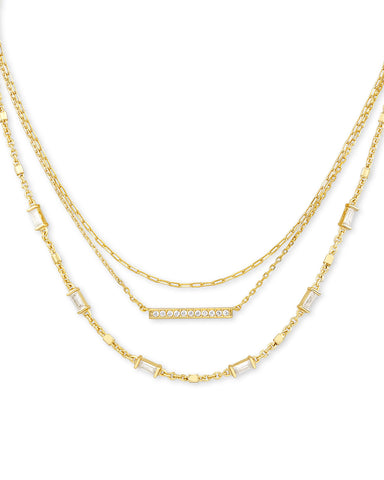 Kendra Scott: Addison Triple Strand Necklace In Gold