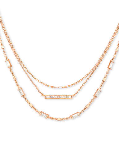 Kendra Scott: Addison Triple Strand Necklace In Rose Gold