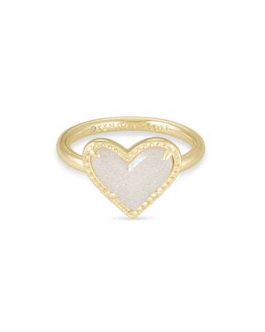 Kendra Scott: Ari Heart Gold Band Ring In Iridescent Drusy
