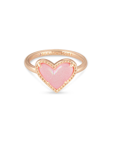 Kendra Scott: Ari Heart Rose Gold Band Ring In Pink Drusy