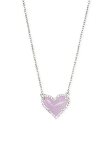 Kendra Scott: Ari Heart Silver Pendant Necklace In Amethyst