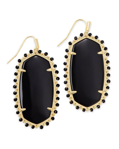 Kendra Scott: Beaded Danielle Earring Gold Black Obsidian