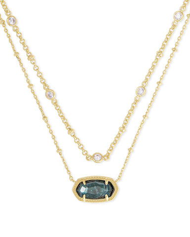 Kendra Scott: Elisa Multi Strand Necklace in Gold/Green Apatite