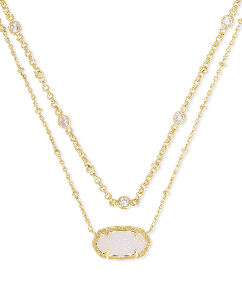 Kendra Scott: Elisa Multi Strand Necklace in Gold/Iridescent Drusy