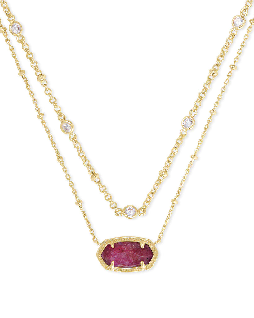 Kendra Scott: Elisa Multi Strand Necklace in Gold/Raspberry Labradorite