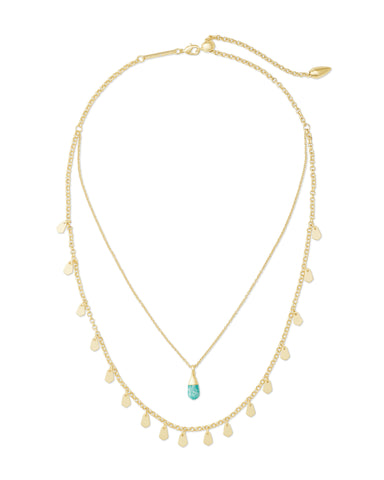 Kendra Scott: Freida Multi Strand Gold/Teal Amazonite