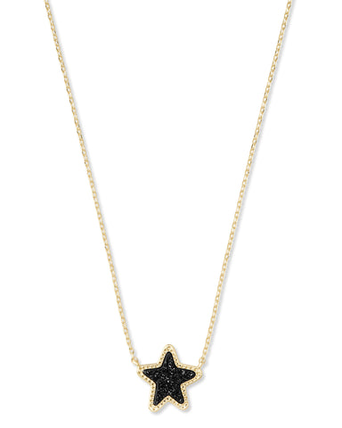 Jae Star Pendant Gold/ Black Drusy
